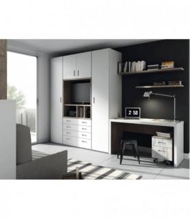 Conjunto espejo y mueble recibidor clásico para entrada